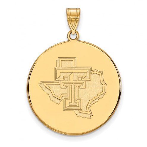 Texas Tech Red Raiders Sterling Silver Gold Plated Extra Large Disc Pendant