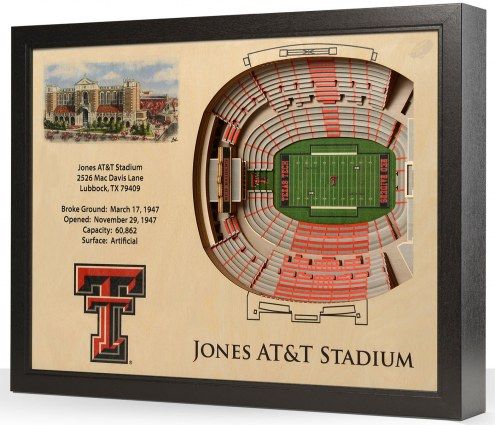 Texas Tech Red Raiders 25-Layer StadiumViews 3D Wall Art