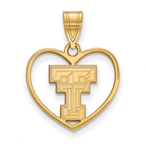 Texas Tech Red Raiders NCAA Sterling Silver Gold Plated Heart Pendant