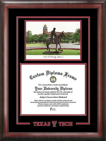 Texas Tech Red Raiders Spirit Diploma Frame with Campus Image