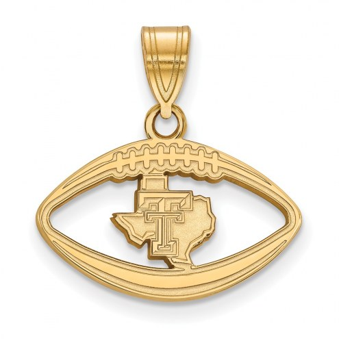 Texas Tech Red Raiders Sterling Silver Gold Plated Football Pendant