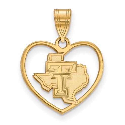 Texas Tech Red Raiders Sterling Silver Gold Plated Heart Pendant