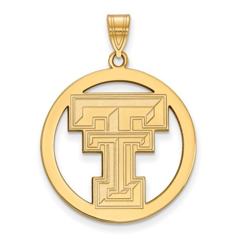 Texas Tech Red Raiders Sterling Silver Gold Plated Large Circle Pendant