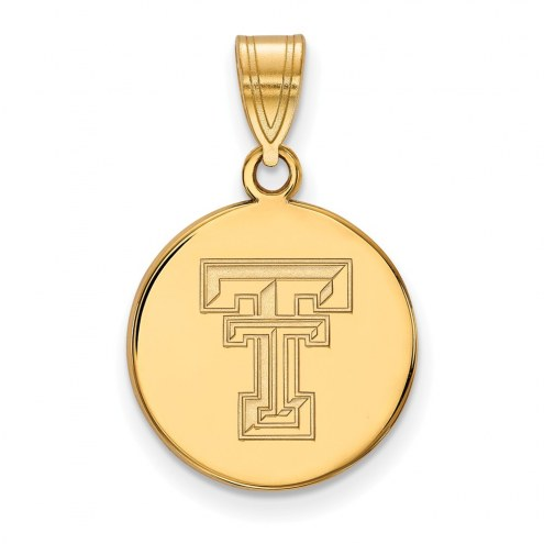 Texas Tech Red Raiders Sterling Silver Gold Plated Medium Disc Pendant
