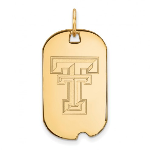 Texas Tech Red Raiders Sterling Silver Gold Plated Small Dog Tag