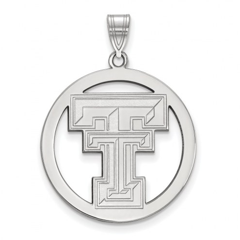 Texas Tech Red Raiders Sterling Silver Large Circle Pendant