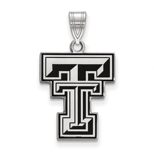 Texas Tech Red Raiders Sterling Silver Large Enameled Pendant