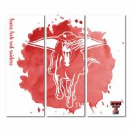 Texas Tech Red Raiders Triptych Watercolor Canvas Wall Art