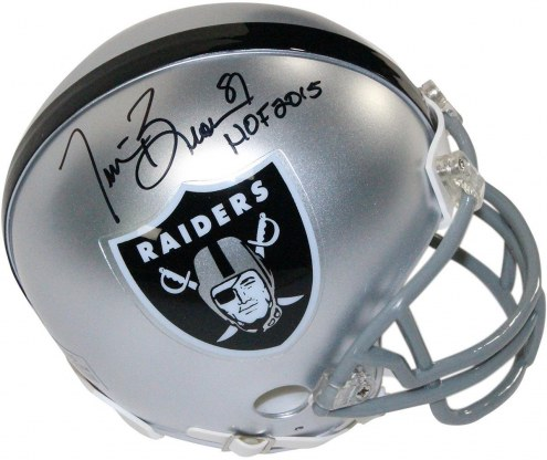 "Tim Brown Signed Oakland Raiders Mini Helmet w/ ""HOF 2015"""