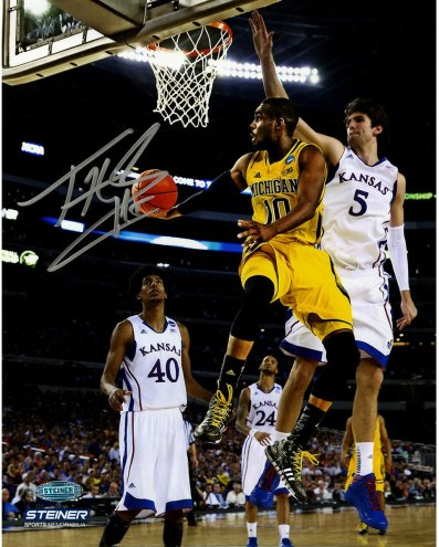 Tim Hardaway Jr Signed Michigan Against Kansas 8x10 Photo