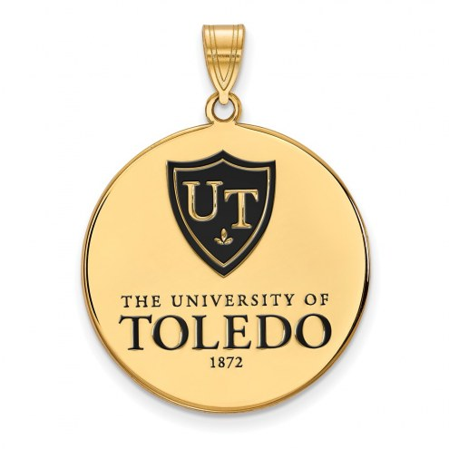 Toledo Rockets Sterling Silver Gold Plated Extra Large Enameled Disc Pendant