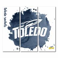 Toledo Rockets Triptych Watercolor Canvas Wall Art