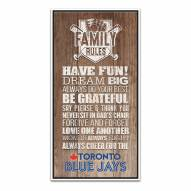 Toronto Blue Jays Family Rules Icon Wood Framed Printed Canvas