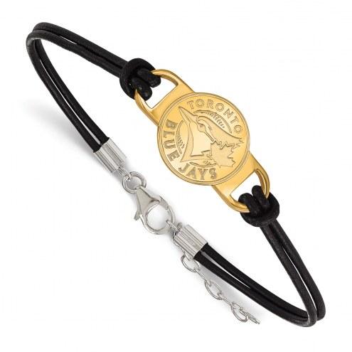 Toronto Blue Jays Gold Plated Sterling Silver Leather Bracelet