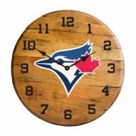 Toronto Blue Jays Oak Barrel Clock