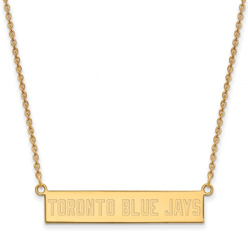 Toronto Blue Jays Sterling Silver Gold Plated Bar Necklace