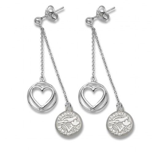 Toronto Blue Jays Sterling Silver Heart Earrings