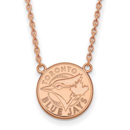 Toronto Blue Jays Sterling Silver Rose Gold Plated Large Pendant Necklace