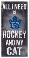 "Toronto Maple Leafs 6"" x 12"" Hockey & My Cat Sign"