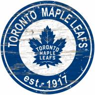 Toronto Maple Leafs Distressed Round Sign
