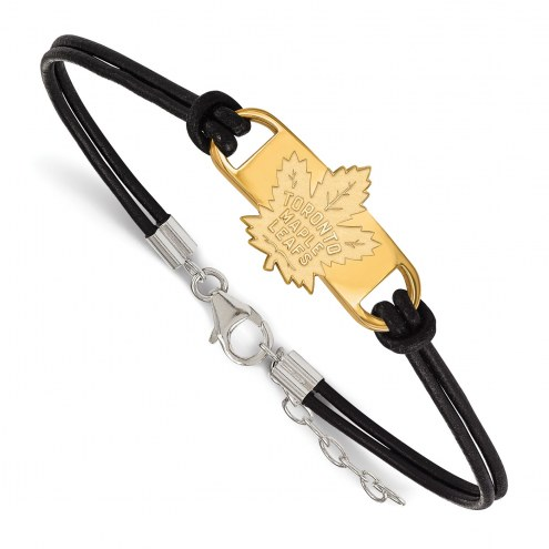 Toronto Maple Leafs Gold Plated Sterling Silver Leather Bracelet