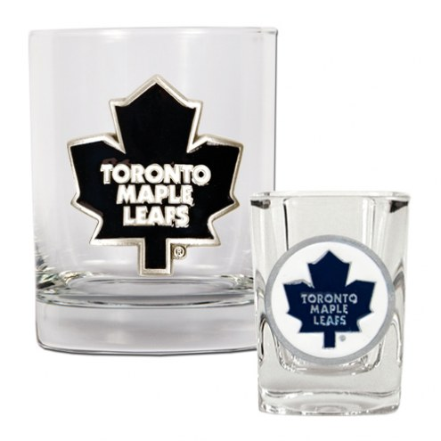 Toronto Maple Leafs NHL Rocks Glass and Square Shot Glass - 2 Piece Set
