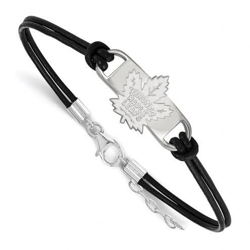 Toronto Maple Leafs Sterling Silver Black Leather Bracelet