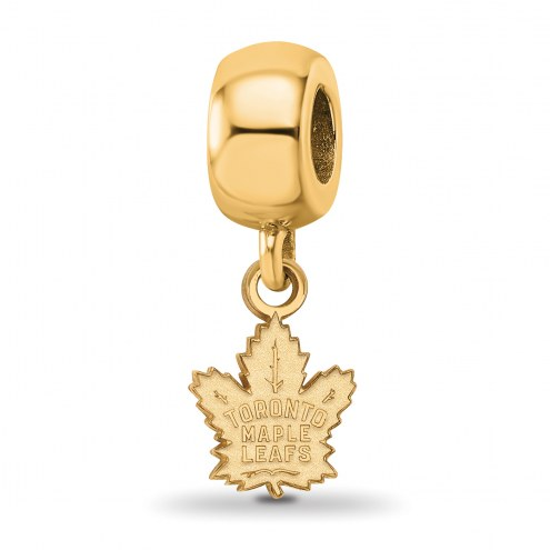 Toronto Maple Leafs Sterling Silver Gold Plated Extra Small Dangle Bead
