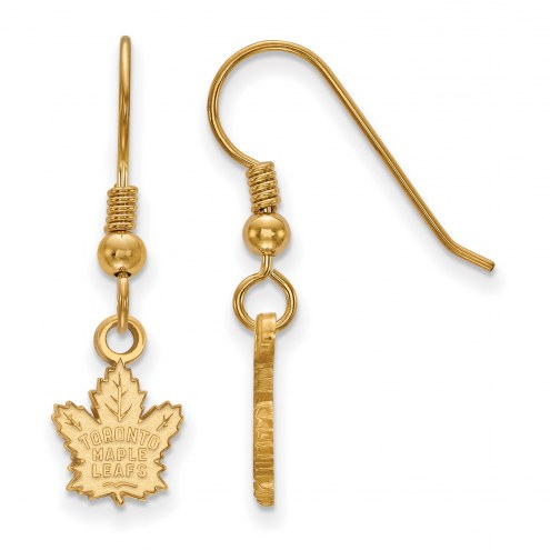 Toronto Maple Leafs Sterling Silver Gold Plated Extra Small Dangle Earrings