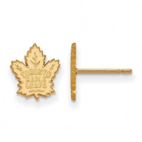 Toronto Maple Leafs Sterling Silver Gold Plated Extra Small Post Earrings