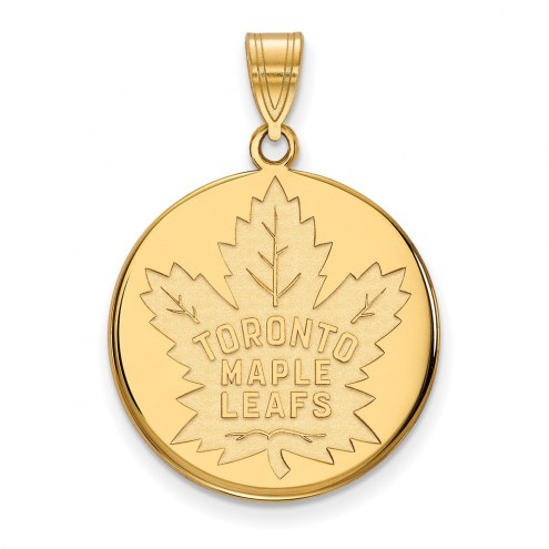 Toronto Maple Leafs Sterling Silver Gold Plated Large Disc Pendant