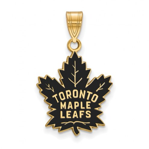 Toronto Maple Leafs Sterling Silver Gold Plated Large Enameled Pendant