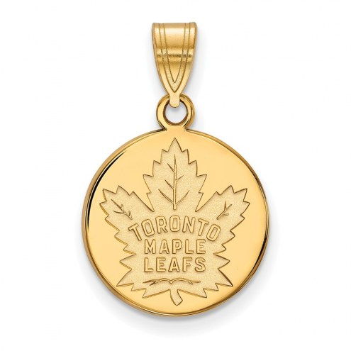Toronto Maple Leafs Sterling Silver Gold Plated Medium Disc Pendant