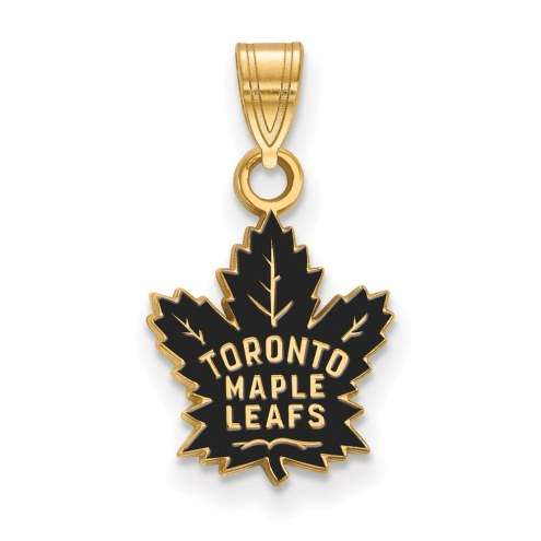 Toronto Maple Leafs Sterling Silver Gold Plated Small Enameled Pendant