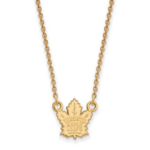 Toronto Maple Leafs Sterling Silver Gold Plated Small Pendant Necklace