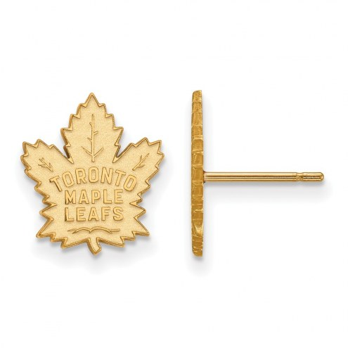 Toronto Maple Leafs Sterling Silver Gold Plated Small Post Earrings