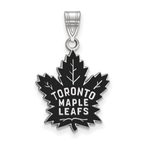 Toronto Maple Leafs Sterling Silver Large Enameled Pendant
