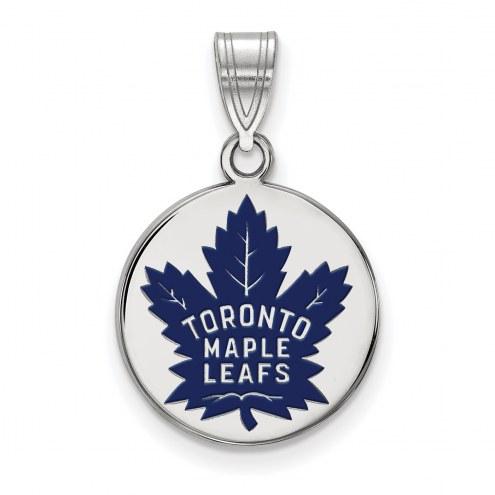 Toronto Maple Leafs Sterling Silver Medium Enameled Disc Pendant