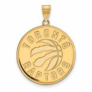 Toronto Raptors Sterling Silver Gold Plated Extra Large Pendant