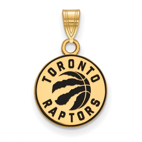 Toronto Raptors Sterling Silver Gold Plated Small Enameled Pendant