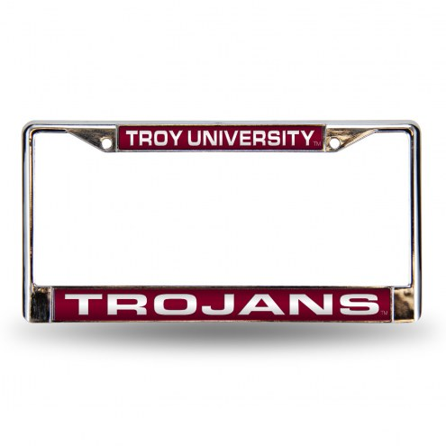 Troy Trojans Laser Chrome License Plate Frame