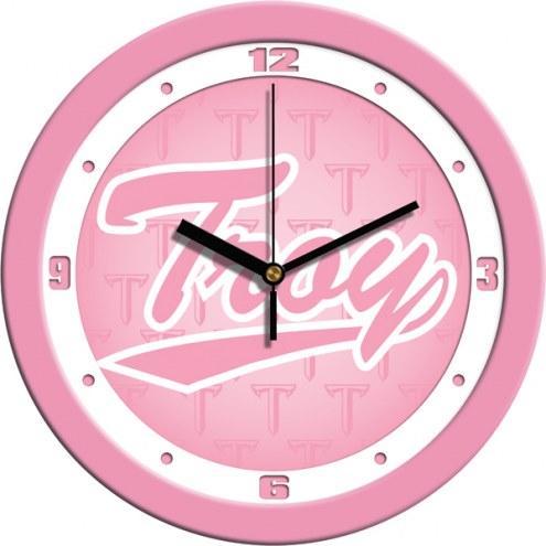 Troy Trojans Pink Wall Clock