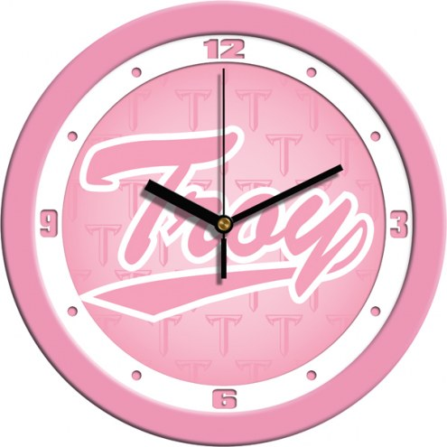 Troy Trojans Pink Wall Clock