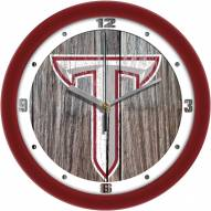 Troy Trojans Weathered Wood Wall Clock