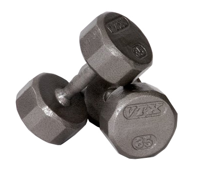 Troy VTX Pro Series 12-Sided Solid Gray 70 Lb Dumbbell