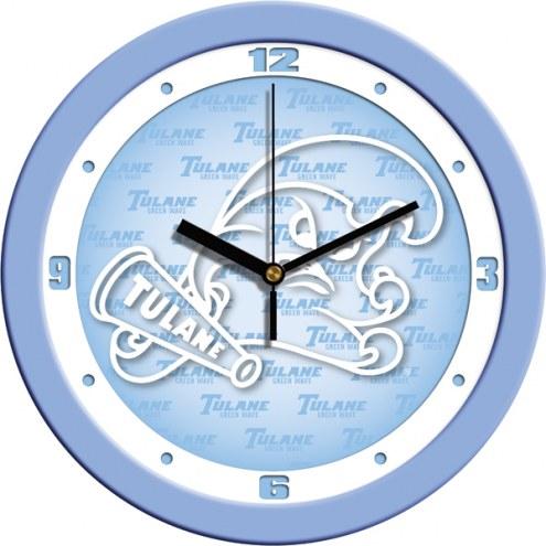 Tulane Green Wave Baby Blue Wall Clock