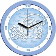 Tulane Green Wave Baby Blue Wall Clock