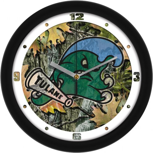 Tulane Green Wave Camo Wall Clock