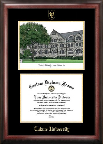 Tulane Green Wave Gold Embossed Diploma Frame with Lithograph