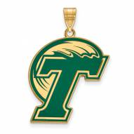 Tulane Green Wave Sterling Silver Gold Plated Extra Large Enameled Pendant